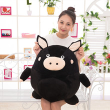 Hot 1Pcs 20CM-60Cm C Black Pig Plush Toys Fat brown Pig Cloth Doll round sphere pillow Cushion birthday gift children's gift стоимость