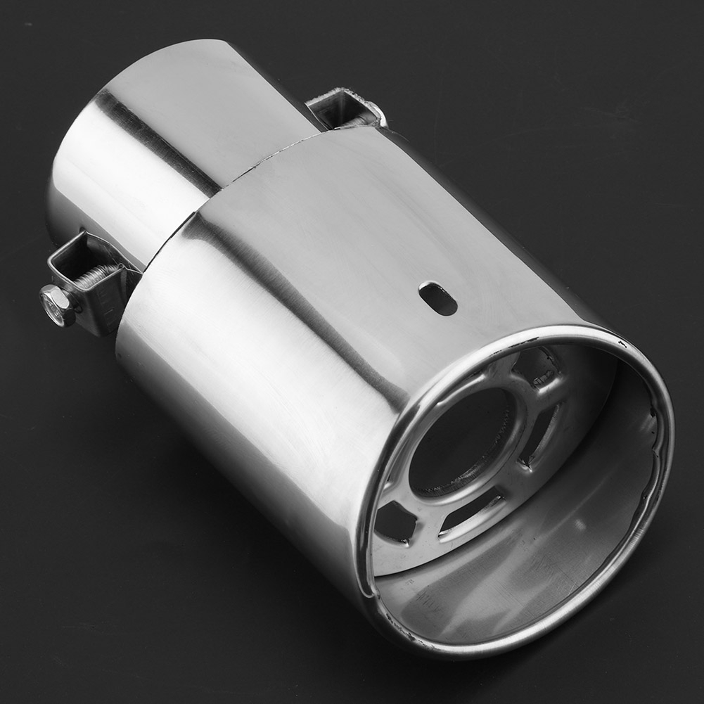 1x Universal Straight Silver Car Exhaust Grille Pipe Rear Muffler Tip Mesh Cover