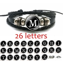 Francais Fashion Unisex Leather Bracelet 26 Letters Personalized Initial Glass Cabochon Bucket Gift Jewelry Accessories
