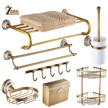 ZGRK Antique Bathroom Blue and White Porcelain Accessories Carved Copper-Alloy Hardware Set Wall Mounted Kit