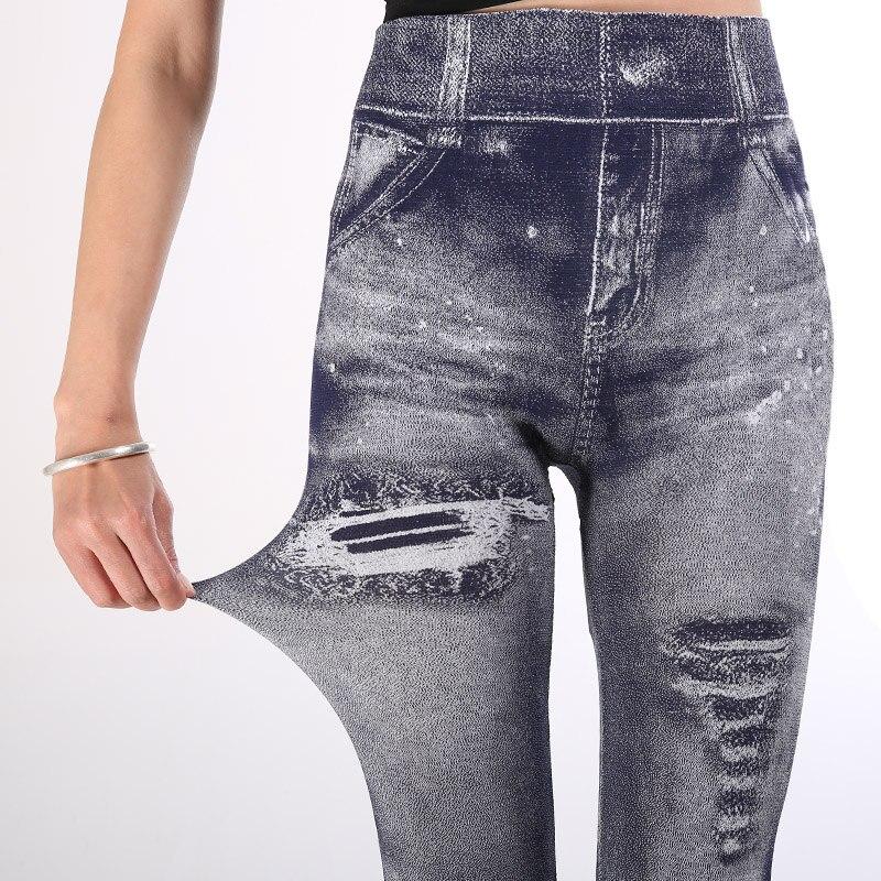 Elastic High Waist Plus Size   Leggings   3XL Women Jean Printing   Legging   Put Hip   Legging   Breathable Slim Pants 2019 Imitation Jeans