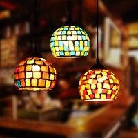 Artpad מרוקו דקור תורכי פסיפס מנורות שינה מלון בר Restautant תליון אורות E27 LED צבעוני זכוכית תליית מנורה