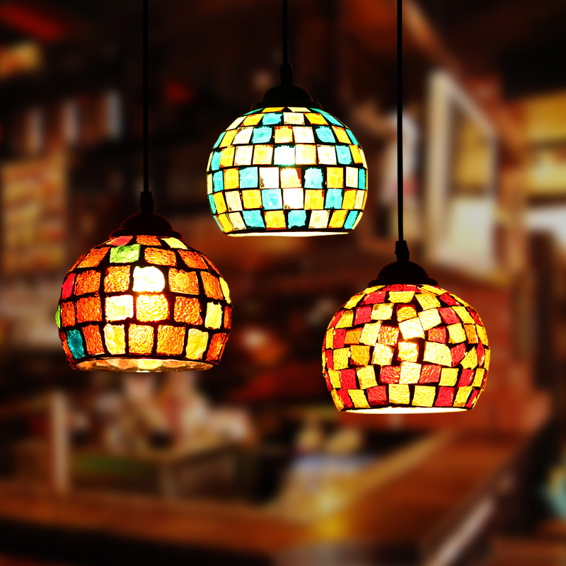 Us 31 11 22 Off Artpad Morocco Decor Turkish Mosaic Lamps Bedroom Hotel Bar Restautant Pendant Lights E27 Led Colorful Gl Hanging Lamp In