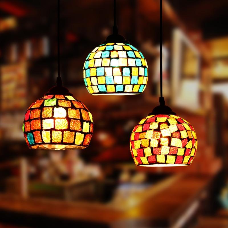 Artpad Morocco Decor Turkish Mosaic Lamps Bedroom Hotel Bar Restautant Pendant Lights E27 LED Colorful Glass Hanging Lamp