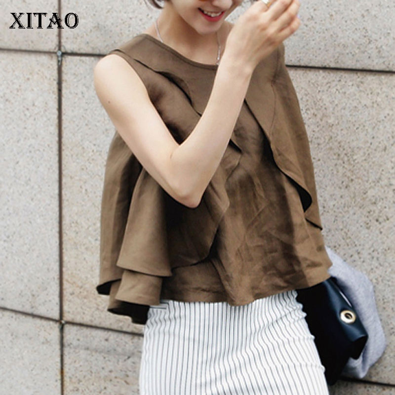 [XITAO] New Arrival 2018 Summer Korea Fashion Women Solid Color Sleeveless Hollow Out Tops Female O-Neck Pullover Tanks KZH494