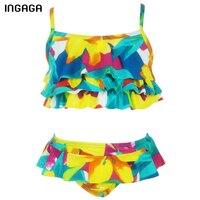 INGAGA 2017 Çocuk Mayo Küçük kız Mayo Bikini Set Askı Baskılı Fırfır Yüzmek Giyim Mayo