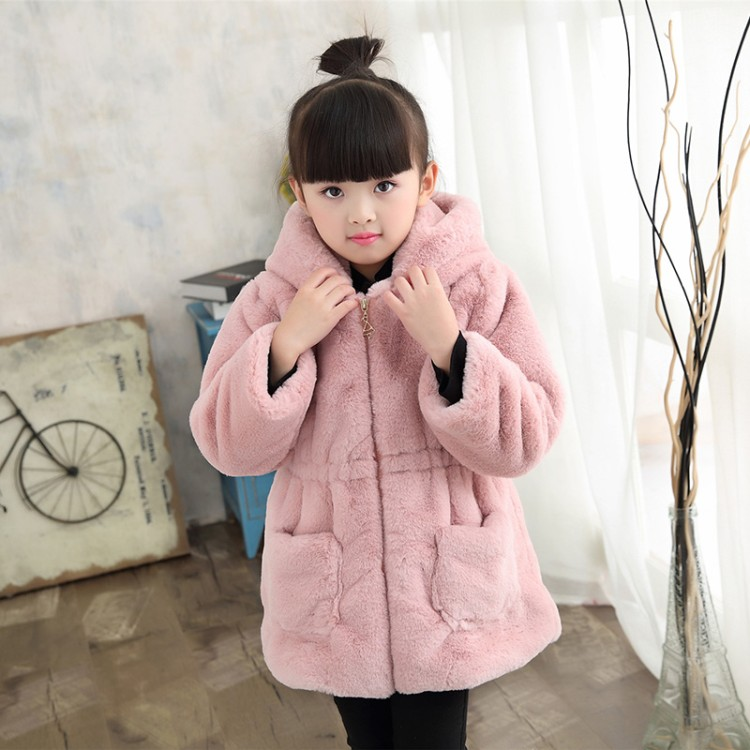 4color NEW Teenagers Girls Winter Faux Fur Fleece Girls Coats Thick Warm Jacket Cute Hooded Long Sleeve Coats for kids year 3-14 faux twinset rib splicing hooded long sleeve slimming modish pu leather jacket for men
