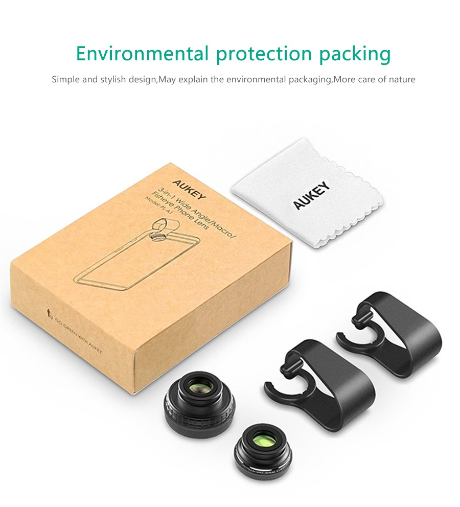 AUKEY Fish eye Lens 3in 1 Clip-on Cell Phone Camera 180 Degree Fisheye Lens+Wide Angle+Macro Lens for iPhone 7Plus Xiaomi & More 17