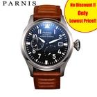 ★  43 мм Parnis мужские механические часы световой запас хода автоматические часы мужчины коричневая ко ✔
