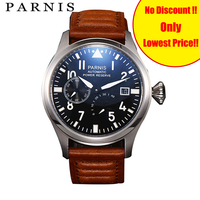 Parnis Automatic Men Watch Military Watch Mechanical Power Reserve Top Brand 47mm Wrist Watch Luminous Leather Strap Watches