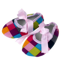 LONSANT First Walkers Kids Baby Shoes Bowknot Colorful Lattice Printing Newborn Cloth Shoes Dropshipping Wholesale(China)