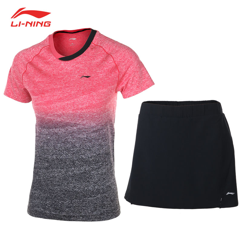 Li-Ning Women 2018 Badminton Competition Sets 2Pcs Gradient T-shirts + Black Skirts LiNing Female Breathable Sports Suit AATN018 2018 summer new badminton dress women speed dry badminton suit sports suit women s dress