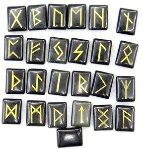 Image 2 - Tự nhiên Aventurine Pha Lê Onyx Đá Mắt Hổ Viking Chữ Rune Bùa Hộ Mệnh Bộ Reiki Chữa Bệnh Tinh Thể Bói Toán Búi Tó Đá 25 PC