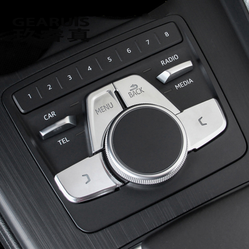 Car Styling For Audi A4 B9 A5 Gears Shift Panel Covers Multimedia BLCk MENU Buttons Decoration Sticker Interior Auto Accessories