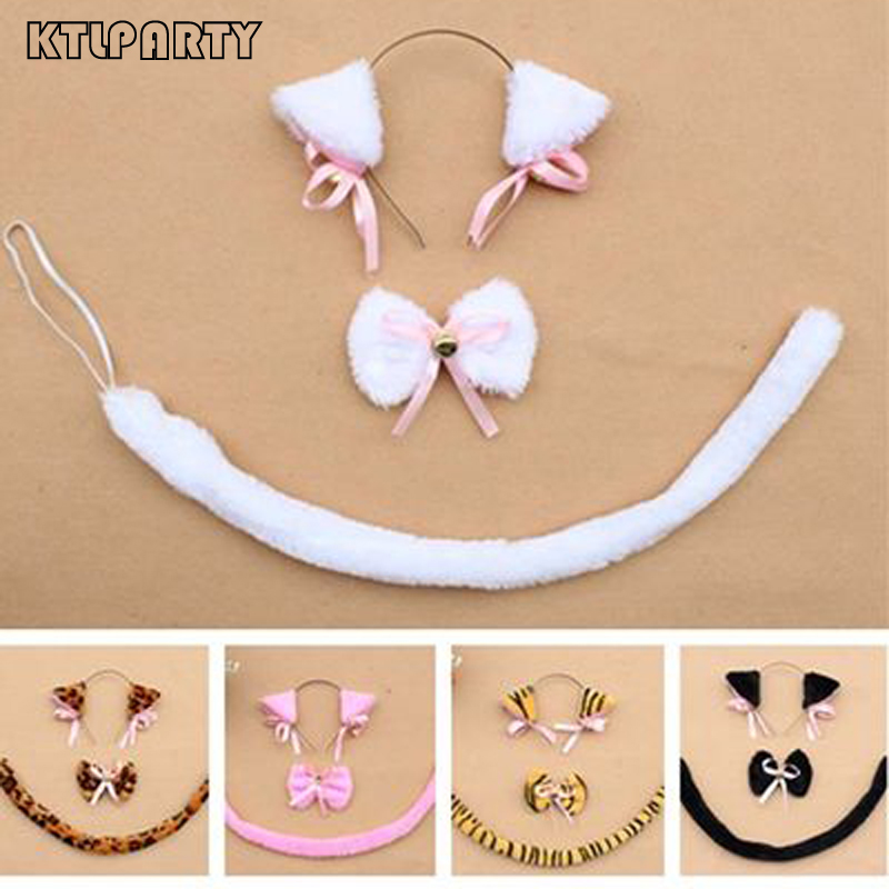 Plush animal cat headband set white black pink cat leopard tiger hairband tail bow tie halloween party cosplay women decoration