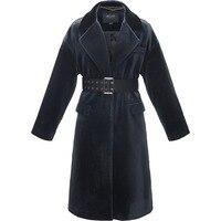 2017 осенний плащ женские бархатные Длинный дизайн костюм пальто с поясом элегантная верхняя одежда средней длины женские S XL