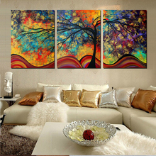 New arrival  modular Large Wall Art Home Decor Abstract Tree Painting Colorful Landscape Paintings Canvas Picture F