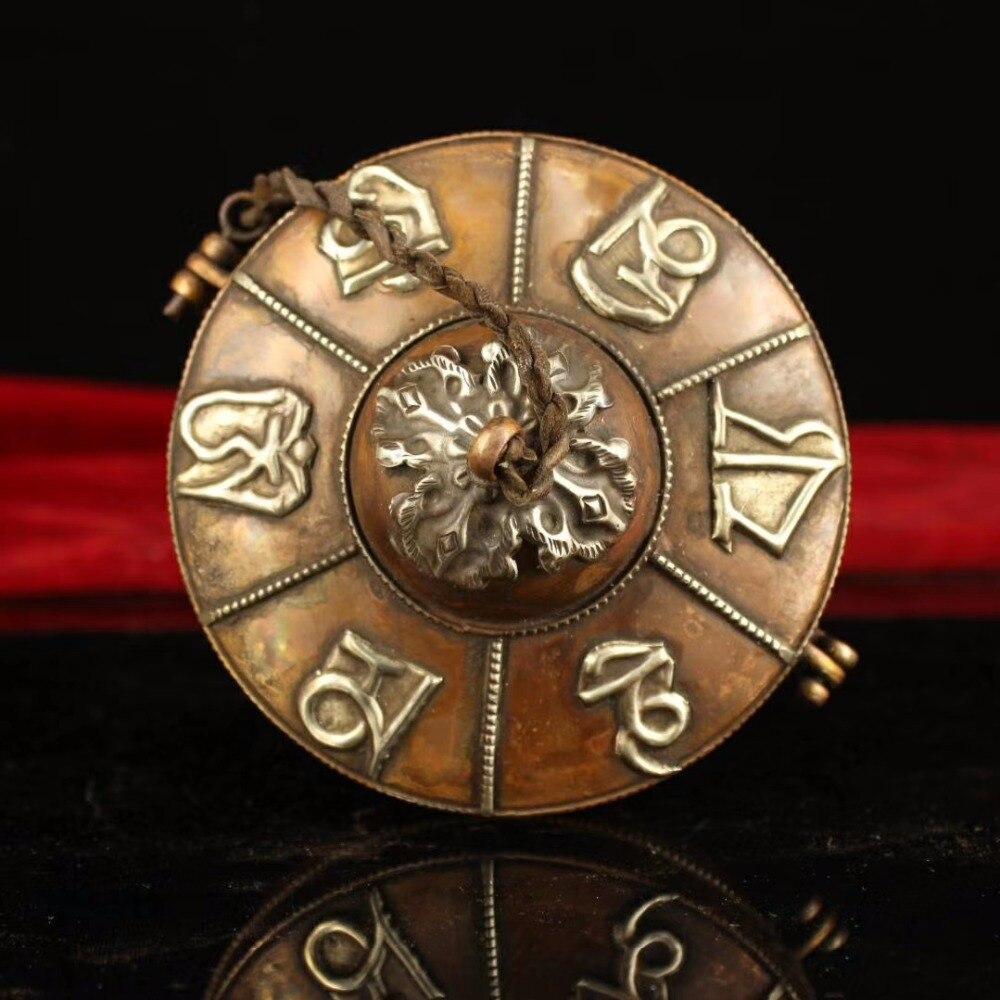 Antique asiatique népal/Tibet fait à la main vieille cloche, diamètre 11 CM, traditionnel tibétain Six mots mantra cloche en cuivre