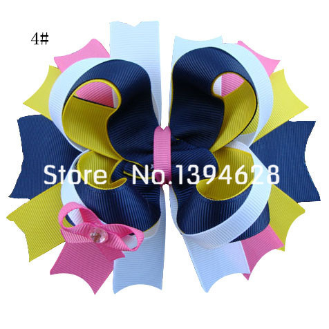 1.99USD/PC 2016 5 Inches Luxury Crystal Hot Pink Boutique Girls Bows With 6cm Hair Clips Stacked Bows For Girls Hair Accessories