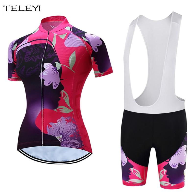 TELEYI Women Bike Clothing Bike Jersey Sets Cycling (Bib) Shorts Padded Kit Flowers XS-4XL
