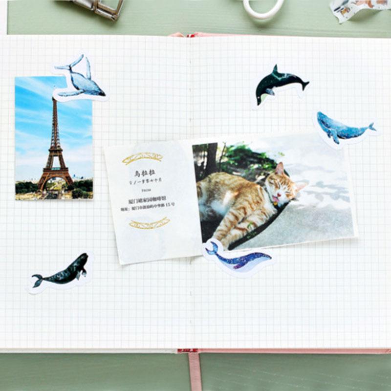 Купить с кэшбэком 45 pcs/box Kawaii ocean whale paper sticker decoration DIY diary scrapbooking sticker children's favorite stationery