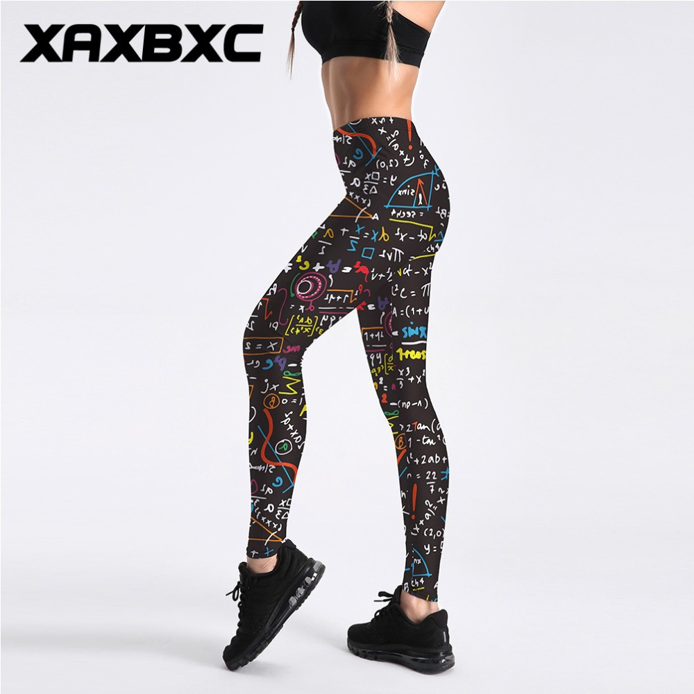 XAXBXC 4025 New 2018 Colorful Math Formula Line Prints Fitness Workout Push Up Women Leggings Slim Sexy Girl Hot Pants Plus Size