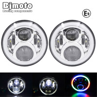 HL 050D 50W Led Headlights Round 7 Inch Daytime Running Lights RGB Angel Eyes DRL Headlamp