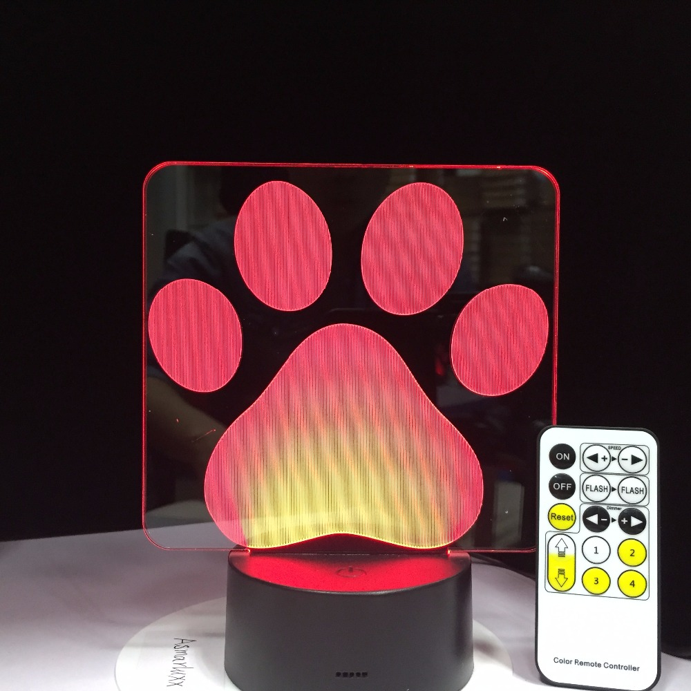 Dog Paw Remote Control Touch 3D Table Lamp LED Colorful Lovely Dog Footprints Nightlight Bedroom Decor USB Baby Sleep Lighting