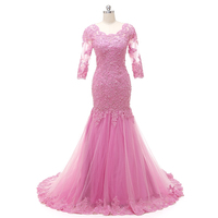 NEW Evening Dress Banquet Sweet Pink Scoop Neck Half Sleeve Transparent Lace Embroidery Mermaid Long Prom Formal Dress