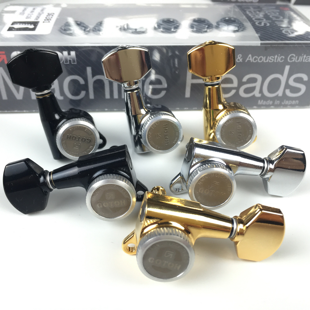 CHROME NEW Gotoh SG381 MGT 6 In-Line Locking Magnum Tuners w// PEARLOID Buttons