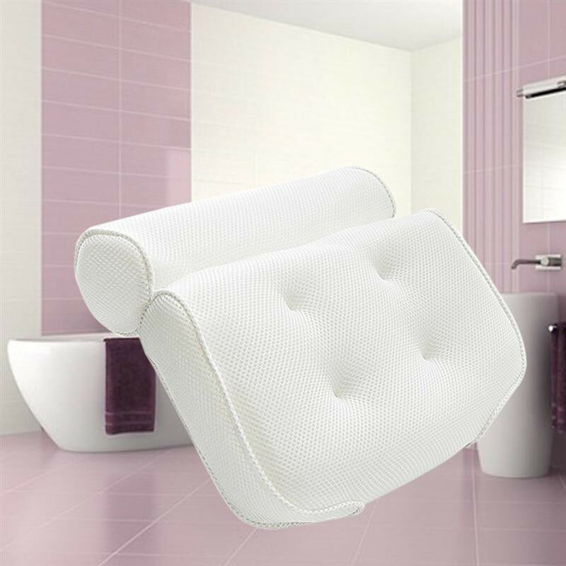 Image 4 - 3D Mesh Bathroom Bathtub Pillow Non Slip Cushioned Bath Tub Spa Pillow Backrest Headrest With Suction Cups Neck Bath Cushion-in Bath Pillows from Home & Garden