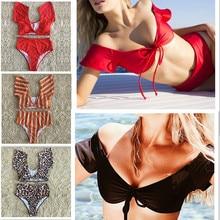 Women Bikini High Waist Stripe Orange