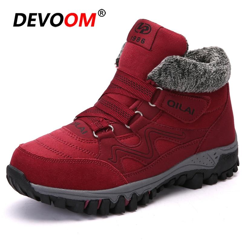 Botas de nieve para mujer botas de invierno 2018 moda de gamuza de goma botas de tobillo antideslizantes zapatos de invierno al aire libre para mujer talla grande 41 42