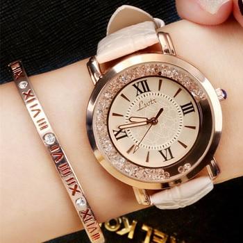 Fashion Women Watches Luxury Leather Strap Dress Watch Casual Rhinestone Quartz Watch Reloj Mujer Wristwatch Girl Montres Femme women s watches 2020 luxury brand rhinestone watch women fashion leather casual quartz wristwatch clock montre femme reloj mujer