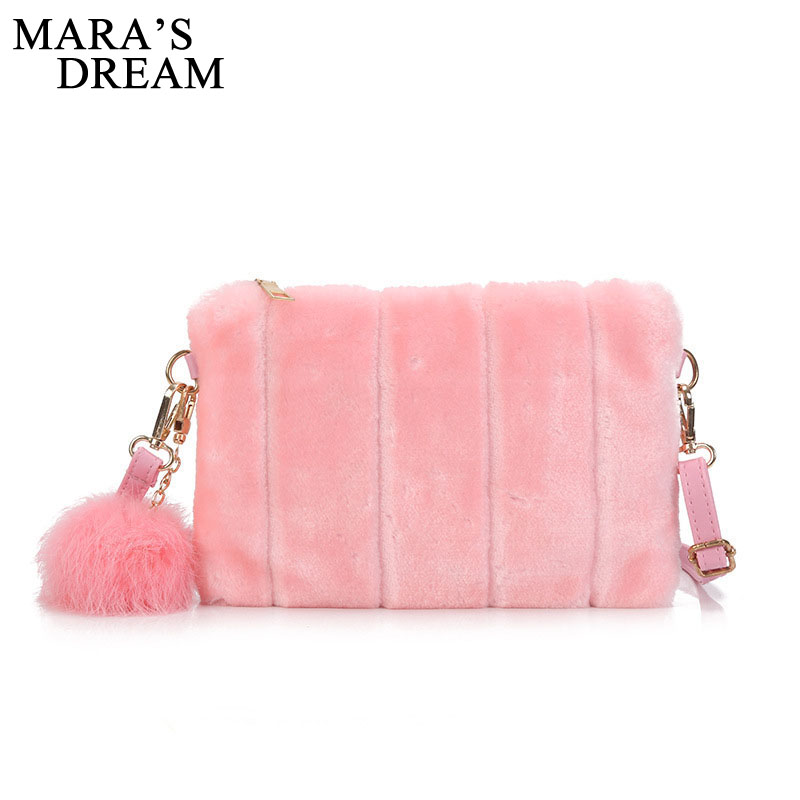 Mara's Dream 2018 Winter Women Handbags Faux Fur Bag Designer Handbags High Quality Sac A Main Femme Crossbody Shoulder Bag