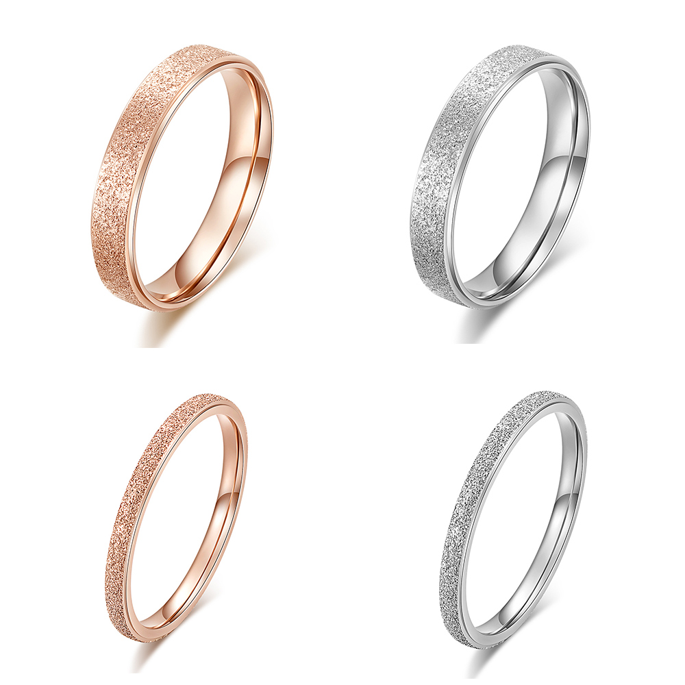 JHSL 2/4 <font><b>mm</b></font> Thin Small Stainless Steel Fashion Jewelry Women Frosted Wedding <font><b>Rings</b></font> Silver Rose Gold Color US size <font><b>3</b></font> 4 5 6 7 8 image