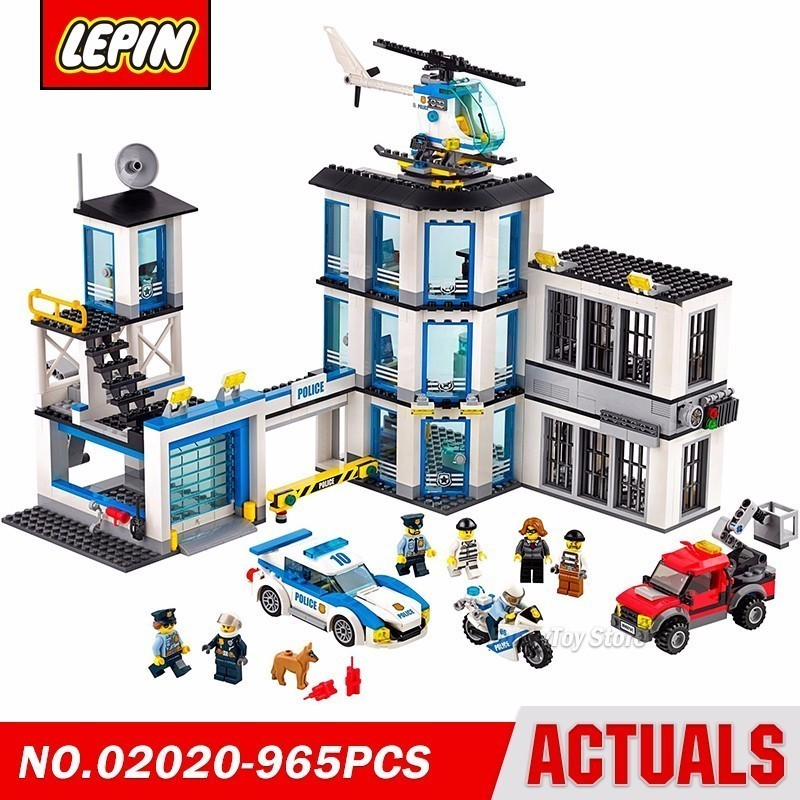 Lepin 02020 Police Station 60141 City Street Series Model Building Block Brick Kits Compatible Toys lepin 02020 city series the new police station set 965pcs children educational building bricks blocks boy toys model 60141 gift