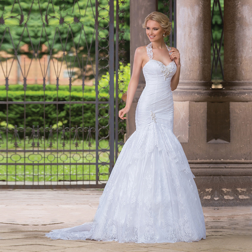 Lace Halter Wedding Gown: Vestido De Novia Bridal Gowns Bride Dress Custom Made Sexy