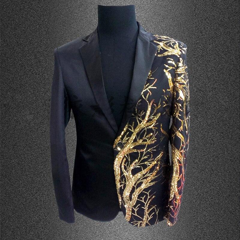 €48.76 37% de DESCUENTO|Chaqueta de lentejuelas para hombre chaqueta de escenario dorada para hombre disfraces Club Singer lentejuelas negro dorado