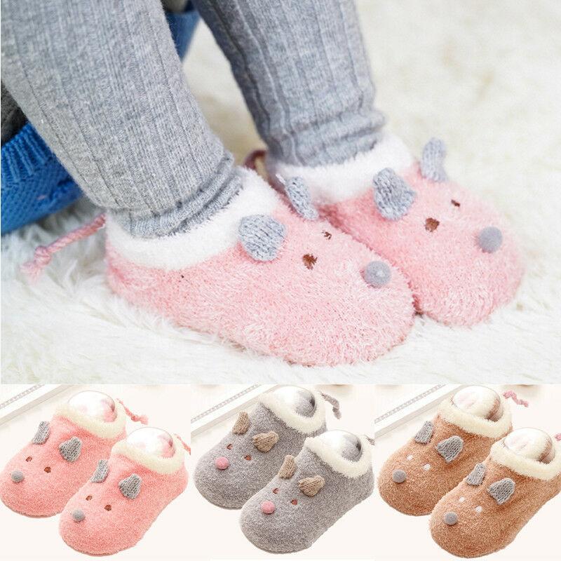 Anti-Slip Floor Socks Warm Socks For Toddler Baby Boy Girl  Autumn Winter Fluff Cartoon Socks Slipper Boots Indoor Walk Learning