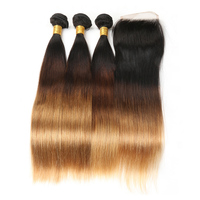 Brazilian Straight Hair Weave Human Hair 3Bundles With Closure T1 4 27 Remy Bundles Ombre Hair Extension Zing Silky Hair Vendors
