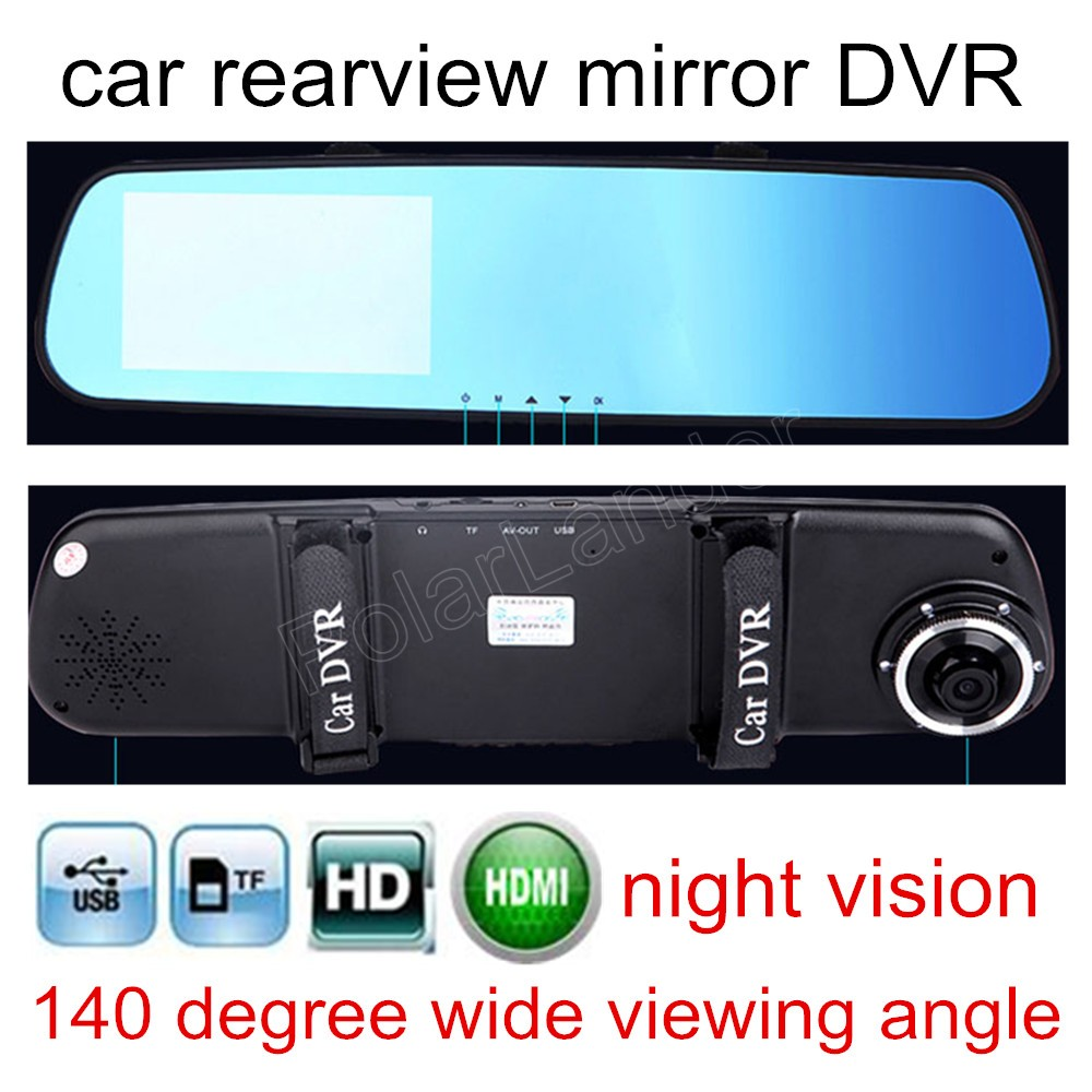 4.3 inch Car DVR Video Recorder Rearview Mirror Monitor Dash Cam camcorder digital driving 140 degree wide viewing angle