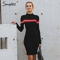 Simplee Casual turtleneck knitted stripe sweater dress Slim o neck bodycon sexy dress pullover female 2018 Autumn winter dress