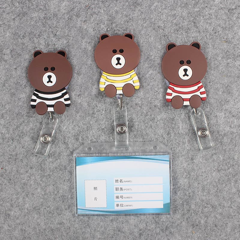 Badge Scroll Nurse Reel Bear Transparent PVC Character Scalable Colors Little Bear Girls Exhibition ID Plastic Doctor CardHolder in Badge Holder Accessories from Office School Supplies