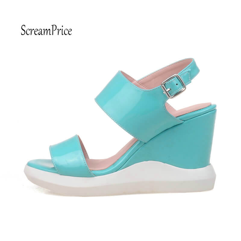 Fashion Wedges High Heels Platform Women Sandals Buckle Back Strap Casual Shoes White Gold Blue Pink woman fashion high heels sandals women genuine leather buckle summer shoes brand new wedges casual platform sandal gold silver