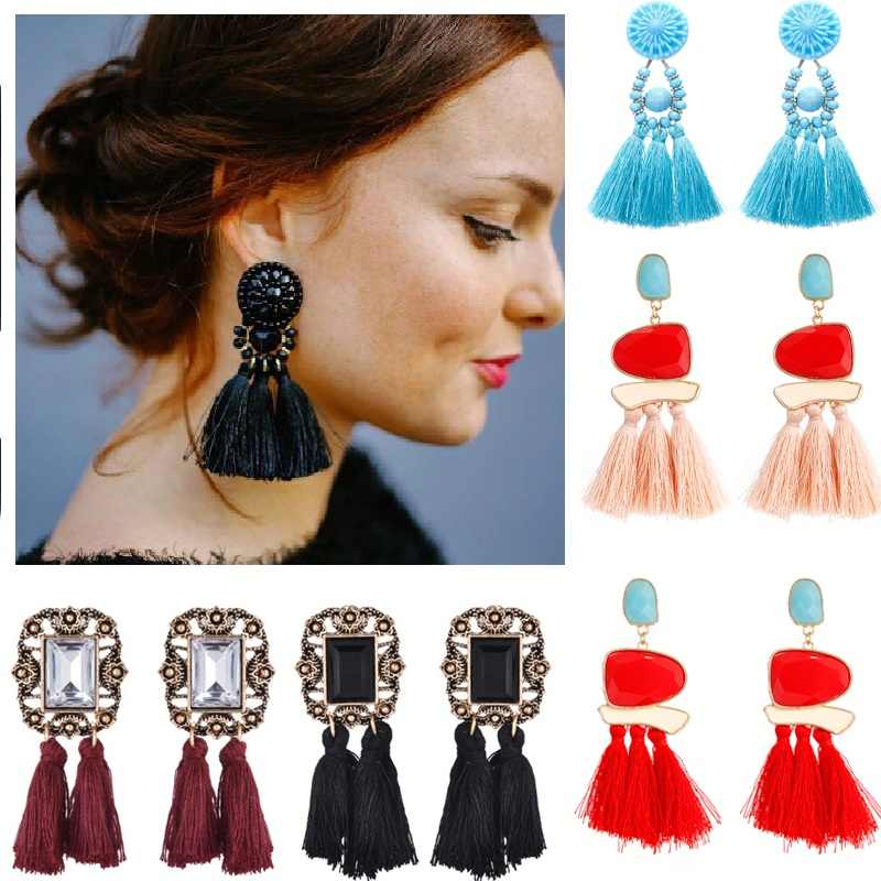 2018 New Fashion Tassel Earrings Boho Bohemian Long Exaggerated Rose Flower Dangling Earrings for Women Wholesale e0502