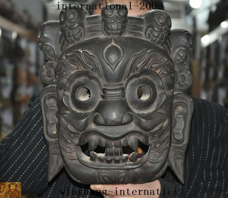 Wedding Decoration Tibet Buddhism Bodhi Wood Carve Sacrifice Skull Mahakala Buddha Head Mask Masks