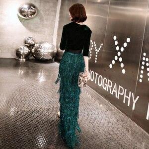 Image 2 - Wei yin zielone aksamitne suknie wieczorowe długa syrenka dekolt formalna sukienka cekinami Abendkleider damska suknia de soiree longue WY1262