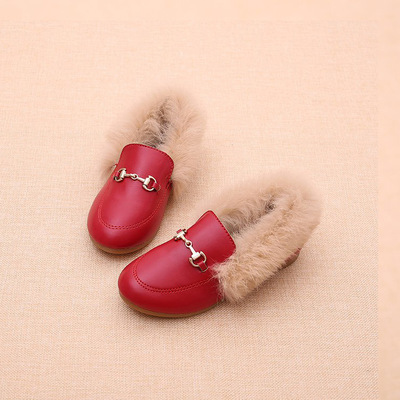 2018 Winter Child Butterfly Fashion Hot Children Leather Rabbit hair PU Loafer Baby Girl Party Princess