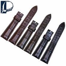 Pesno Watch Strap Black Brown Dark brown Alligator Skin Leather Watch Band Men Watch Accessories 20mm